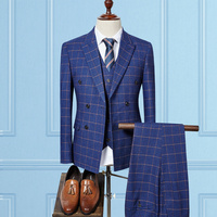 3 Piece Tweed Men Plaid Wedding Suit Male Classic Double Breasted Groom Tuxedos Blue Business Suits (Jacket+pants+vest)