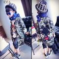 [Bosudhsou.] yyy-3 Meninas camuflagem Casaco de Inverno Crianças Casacos Parkas Crianças Outerwear Engrossar Roupas Quentes Roupas de Bebê menino