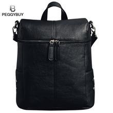 Для женщин Винтаж рюкзак с заклепками из искусственной кожи рюкзак для девочек обычная школьная сумка одноцветное сумка рюкзак для ноутбука Feminina Mochila