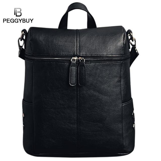 a8817b89e9 Women Vintage Backpack Rivet PU Leather Backpack for Girls Simple School Bag  Solid Shoulder Bag Laptop Backpack Feminina Mochila