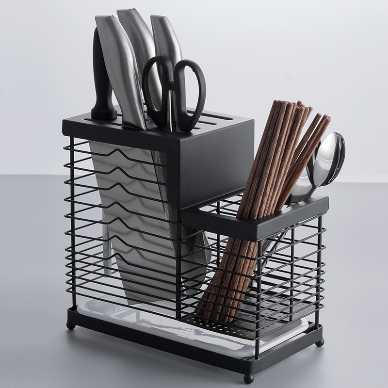 304Stainless:  Household Knife Holder Kitchen Shelf Tool Storage Rack Drain Tray Kitchen Appliances Chopsticks Box Wallmount 304Stainless Steel - Martin's & Co