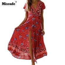 3aa8ae637e6 Missufe Split Sexy Smock Waist Bobo Dress Deep V Neck Floral Print Bohemian  Summer Dresses Women