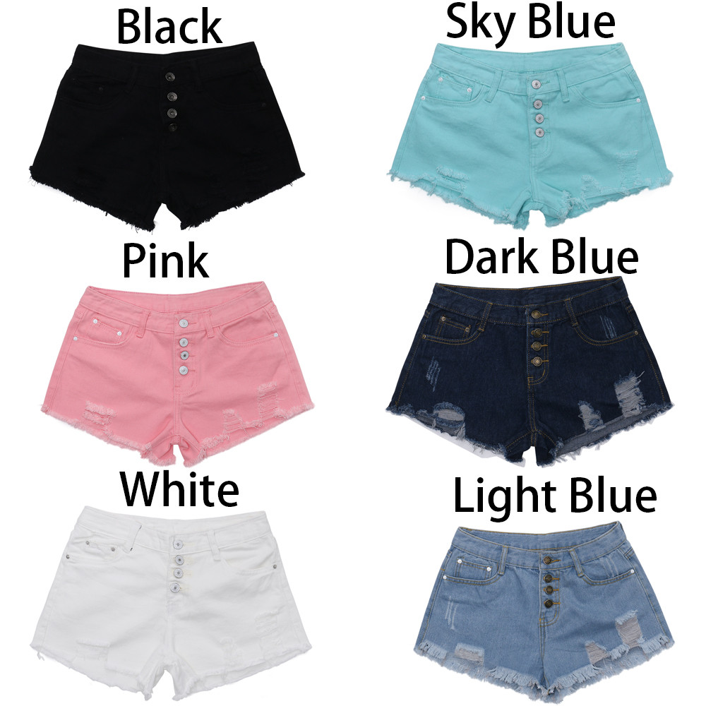 Womail Women   shorts   Summer High Waist Buckled Hole Denim   Shorts   Was Thin Wild Edging Hot   shorts   Casual Cotton dropship j21
