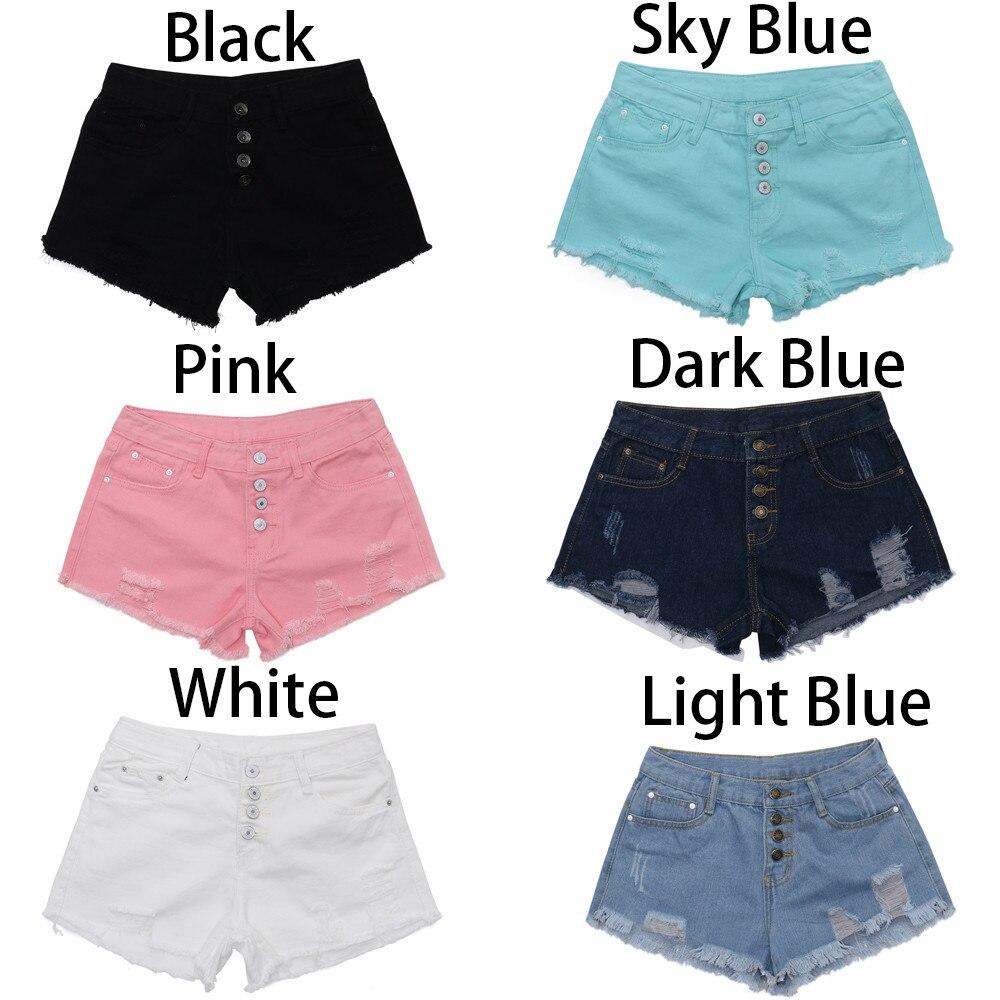 Womail Women shorts Summer High Waist Buckled Hole Denim Shorts Wasit Thin Wild Edging Hot shorts Casual Cotton j21