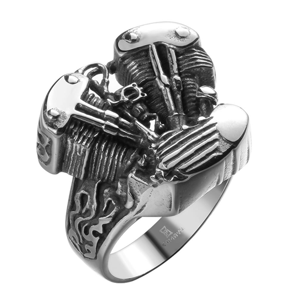 VNFNMI New Brand Men Ring Skull Head Ring Stainless Steel Jewelry
