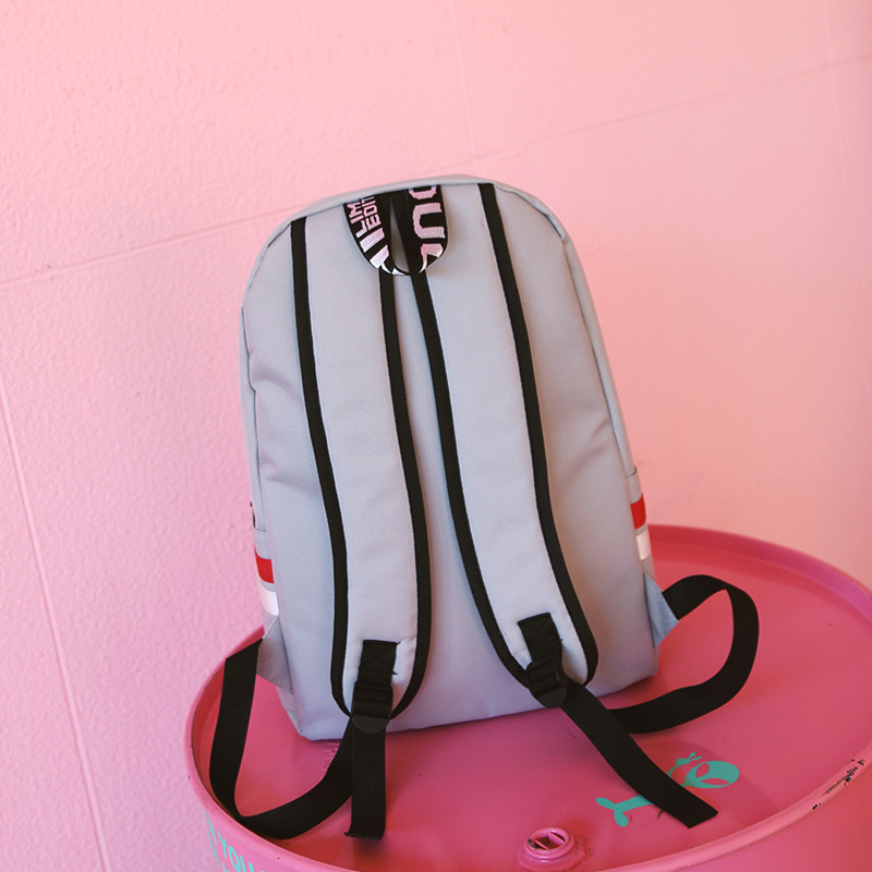 Image 4 - Strips Backpack Preppy Style Black Letter School Backpack For Teenage Girls Japanese and south Korean style Leisure Travel Bag-in Backpacks from Luggage & Bags