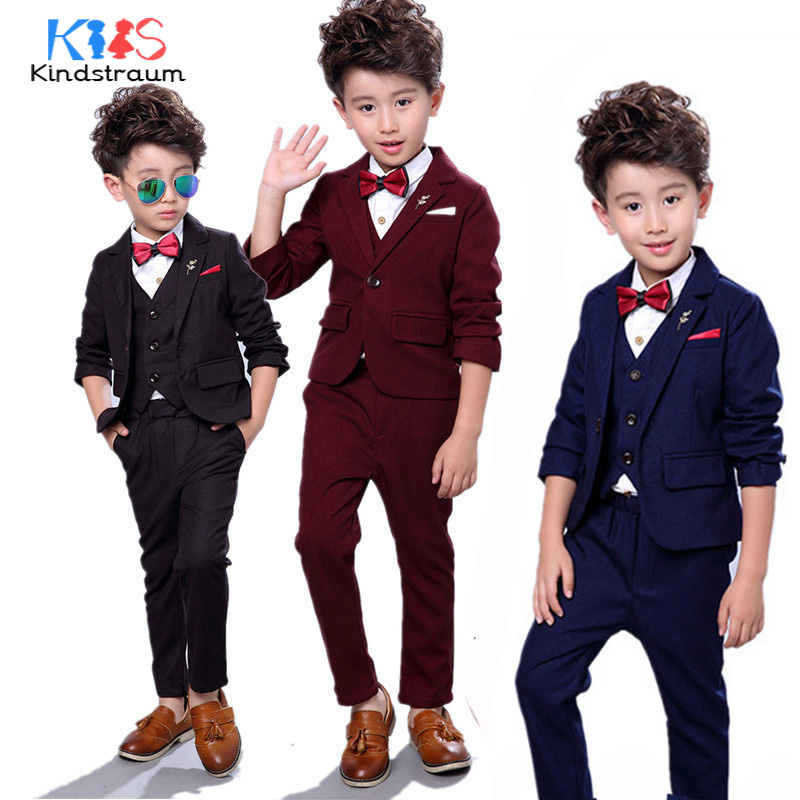 Kindstraum Boys New Fashion Formal Suits Kids Party Wear 4pcs Solid Blazer+Vest+Shirt+Pant Children Wedding Clothing Sets, MC913 boys clothing set striped vest pant shirt suits formal outfits kids school uniform baby children wedding party boy clothes sets