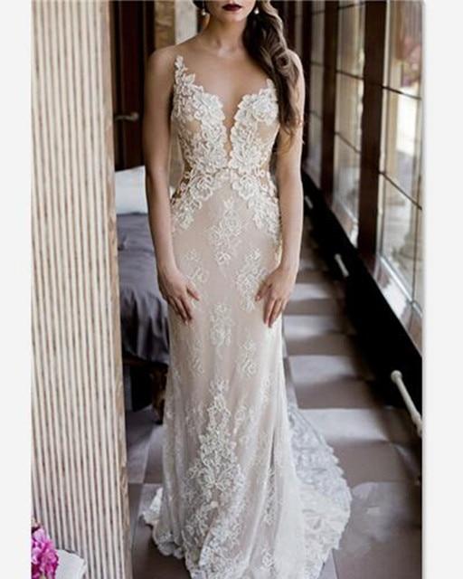 Abule 2017 новый сексуальный Русалка Свадебное платье removeTailing прозрачный кружева Свадебные Платья свадебные Платья Vestido Де Noiva