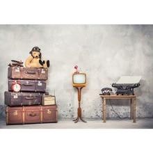 Купить с кэшбэком Plane Baby Toys Old Suitcase TV Telephone Cement Wall Child Birthday Party Portrait Photo Background Photo Backdrop Photo Studio
