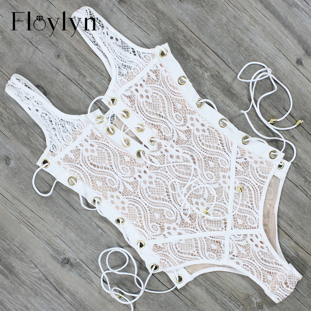 Floylyn Blcak White Lace One-Piece Swimsuit Beachwear 2017 Sexy Women Push Up Swimwear Lace Up Front white lace up swimsuit