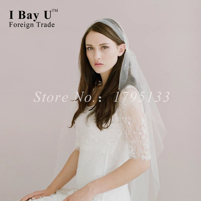 Voile Rouge Mariage Crystal Beaded Veil Wedding Veil With Pearls Short Lace Ivory Veils Wedding Veils With Diamonds Accesories