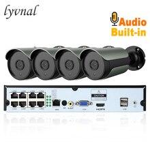 LYVNAL h.265 cámara ip poe 48v 5mp con entrada de audio de 8ch nvr poe kit plug y Bala 5mp cámara de vigilancia 4CH poe kit