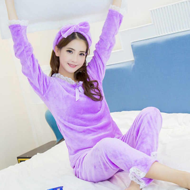 ec0478cee9b9 Winter Purple Sexy Lace Women Warm Sexy Pajamas Set Full Trousers Lady Two  Piece Flannel Pyjama