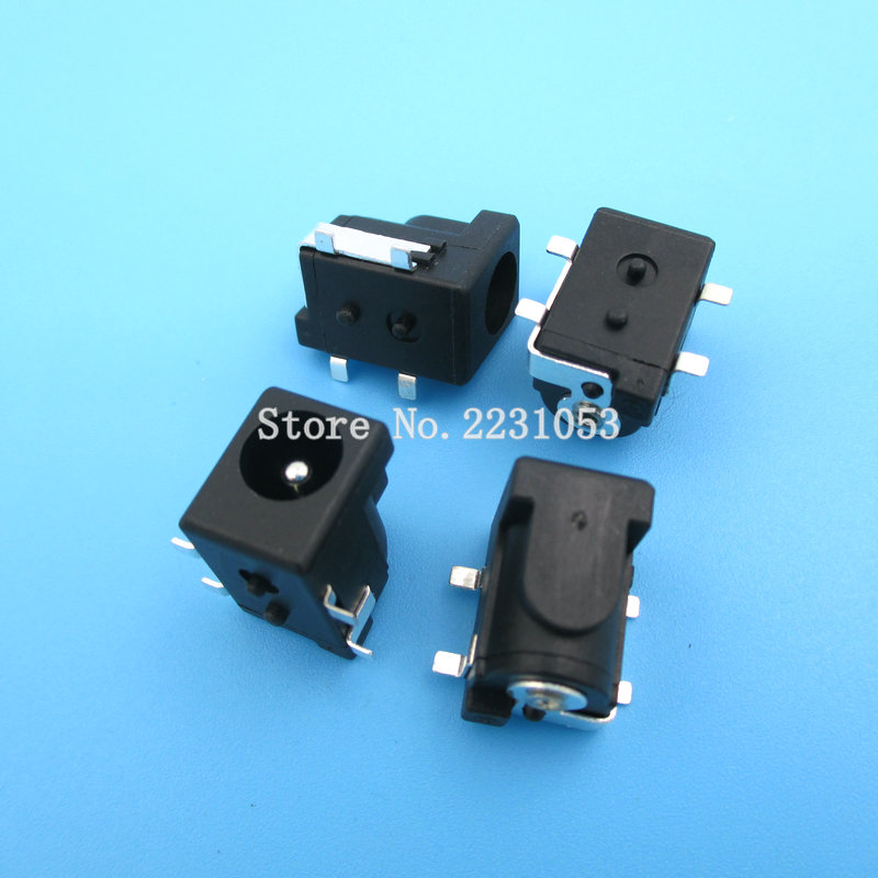 10PCS/LOT SMD DC-005 DC Power Jack Socket Connector DC005 5.5*2.1mm 2.1 Socket Round The Needle Black Color