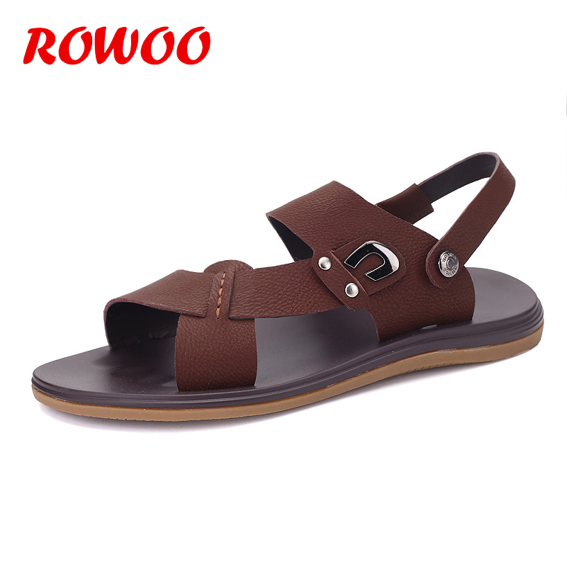 Men Sandals Slippers Leather Male Summer Shoes Outdoor Beach Slippers Fashion Male Sandalias Soft Bottom Breathable Sandals