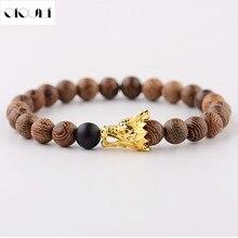 OIQUEI Newest Wooden Beads Strand Bracelet Men Handmade Buddha Wood Gold Color Alloy Dragon Head Beaded Bracelets Jewelry 2018