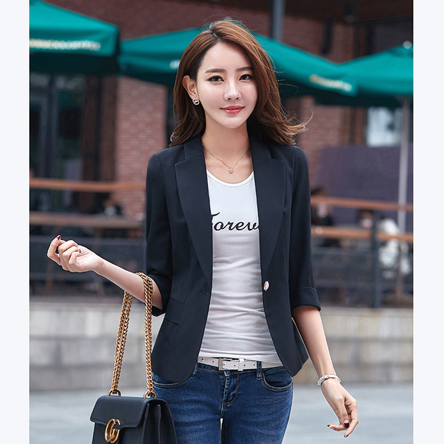 74f55161f28b Fashion autumn women blazer coat sexy Slim suit jacket women v-neck One  Button ladies