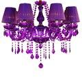 Новые европейские Роскошные фиолетовые хрустальные подвесные лампы 6/8  современные люстры для свечей  спальни  гостиной с абажуром P652