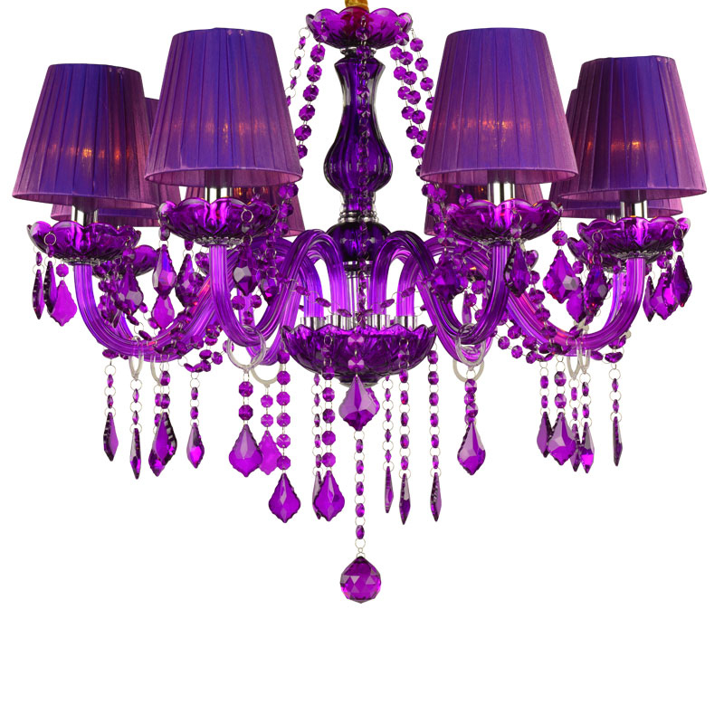 New European Luxury Purple Crystal Suspension Lamps 6/8 Lights Modern Candle Chandeliers Bedroom Living Room With Lampshade P652 6 lights modern metal chandeliers american country fabric lampshade suspension light fixture living room bedroom lighting pl662