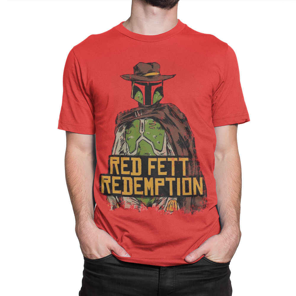 fecee2aa4 Detail Feedback Questions about Red Fett Redemption T Shirt, RDR2 x Boba  Fett Tee, Red Dead Redemption Star Wars Summer T Shirt Brand Fitness Body  Building ...