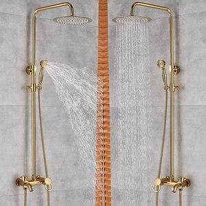 Image 5 - ברזי אמבטיה יוקרה זהב פליז אמבטיה ברז מיקסר ברז קיר רכוב מקלחת ראש אמבטיה זרבובית מקלחת ברז סטים