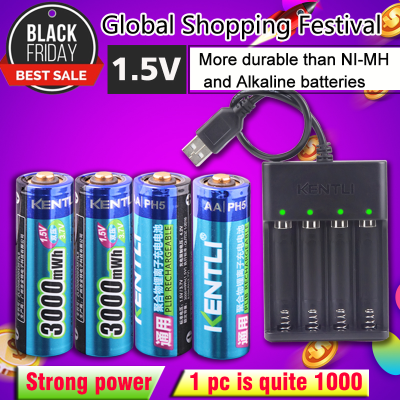 8 stücke 1,5 v 3000mWh keine speicher wirkung aa wiederaufladbare Li-polymer li-ion polymer lithium-batterie + 4 slots USB Ladegerät