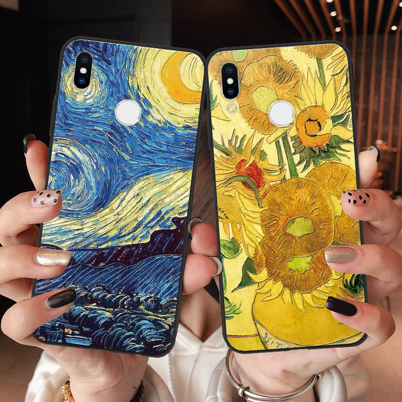 3D Van Gogh Emboss Cover For <font><b>Huawei</b></font> P30 Lite P8 P9 P10 P20 Pro Lite 2017 P Smart 2019 Y5 Y6 <font><b>Y7</b></font> Prime Y9 <font><b>2018</b></font> Y6 <font><b>Y7</b></font> Pro 2019 Case image