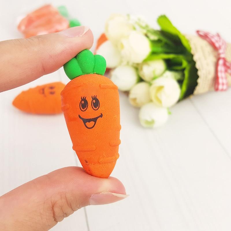 Купить с кэшбэком 2X Kawaii Cartoon carrot Decoration model eraser Eraser Rubber Stationery Kid Gift Toy Pupils  school office stationery