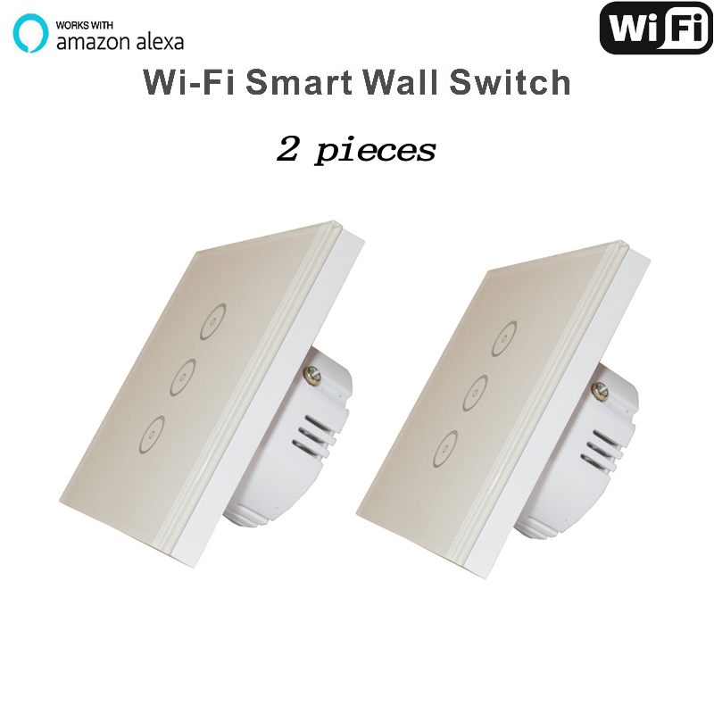 Work with Amazon Alexa Google home  110~240V Smart Wi-Fi Switch Glass Panel  3gang EU Touch Light wall Switch   Home Automation manufacturer xenon wall switch 110 240v smart wi fi switch button glass panel 1 gang ivory white eu touch light switch panel