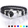 Multi-color Genuine Leather Anchor Stainless Steel Bracelets & Bangles Male Women Punk Jewelry 22.5cm Length Mens Bracelet