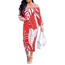 Global new autumn and winter hot sale fashion word collar high waist slim print sexy tight long sleeve casual ladies dress