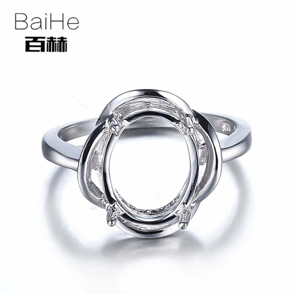 BAIHE Solid 14K White Gold(AU585) Certified Oval CUT Wedding Women Office/career Fine Jewelry Elegant unique Semi Mount Ring    BAIHE Solid 14K White Gold(AU585) Certified Oval CUT Wedding Women Office/career Fine Jewelry Elegant unique Semi Mount Ring