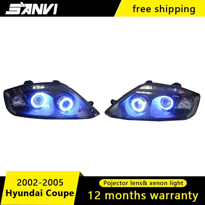 D'origine phares de voiture Pour Hyundai Coupé avec Salut-Croisement Projecteur Lens Engel Phares D'oeil avec 6000 K HID Ampoule et Les Pilotes