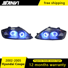 SANVI Headlights For Hyundai Coupe with Hi-Low Beam Projector Lens Engel Eyes Halos Headlamps