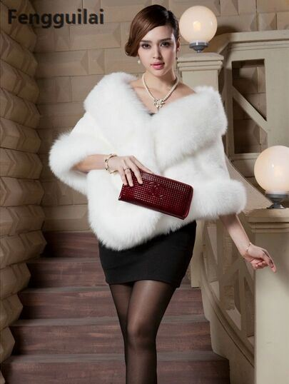 2018 Winter Leather Grass Fox Fur Mink Rabbit Fur Poncho Cape Bridal Wedding Dress Shawl Cape Women Vest Fur Coat