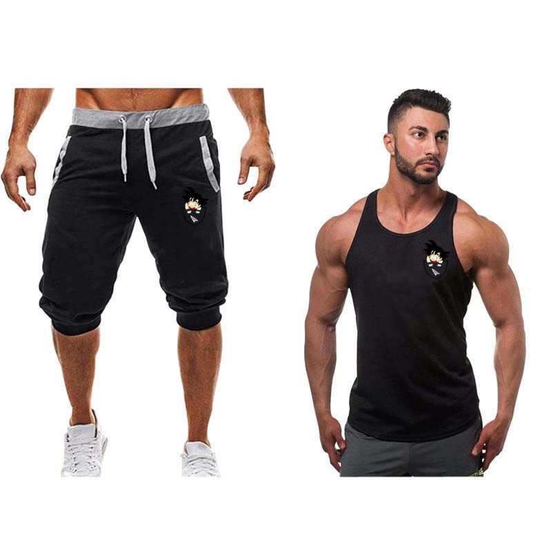 2019 Newest Men Casual Suit Brand Logo Print Short Pant +tank Top Men Funny Suit Summer Cotton Short Sleeves Jersey Joggers Tops