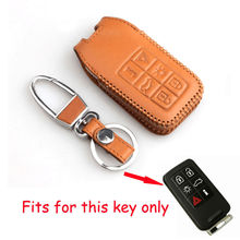 BBQ@FUKA 6BTN Leather Remote Smart Key Case Cover Fob With Keychain Fit For Volvo S40 S60 S80 V50 V70 XC60 XC70 XC90
