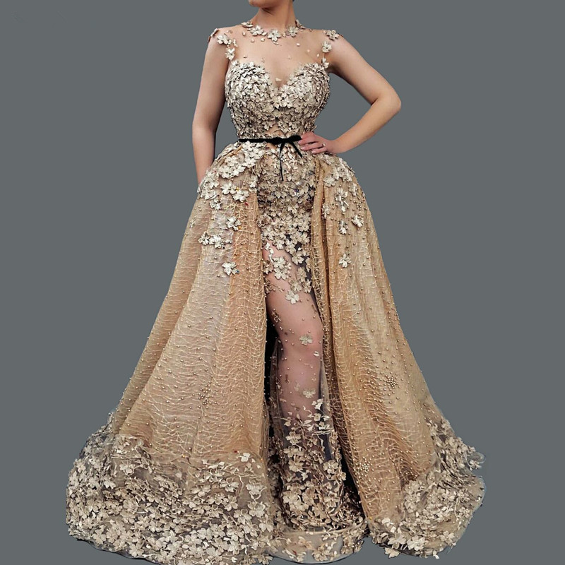 Champagne Muslim Evening Dresses 2019 Mermaid Lace Flower Pearls Detachable Dubai Saudi Arabic Long Evening Gown