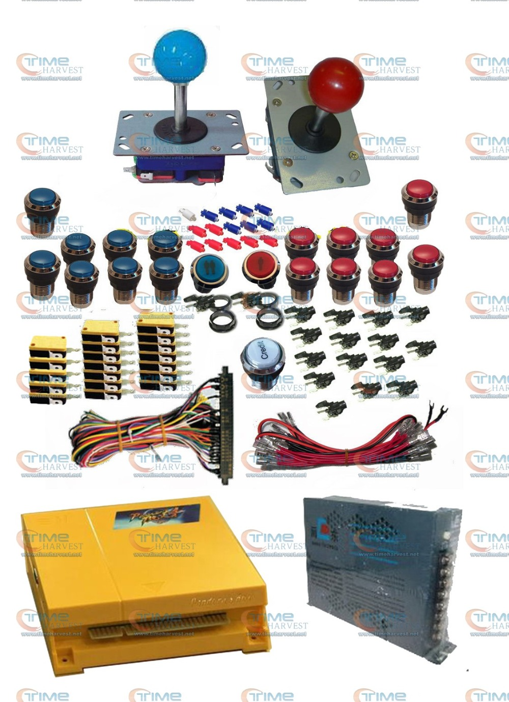 Arcade parts Bundles kit With Multi game 645 in 1 Pandora's Box 4 Joystick Chrome illuminated buttons Microswitch Jamma Harness led lights mini arcade bundle machines 645 in 1 joystick game consoles with jamma multi games pandora 4 game pcb board