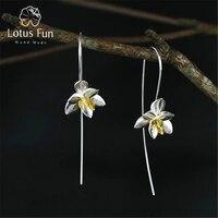 Lotus Eğlenceli Gerçek 925 Ayar Gümüş Doğal Orijinal El Yapımı Güzel Takı Sevimli Blooming Çiçek Moda Damla Küpe Kadınlar için