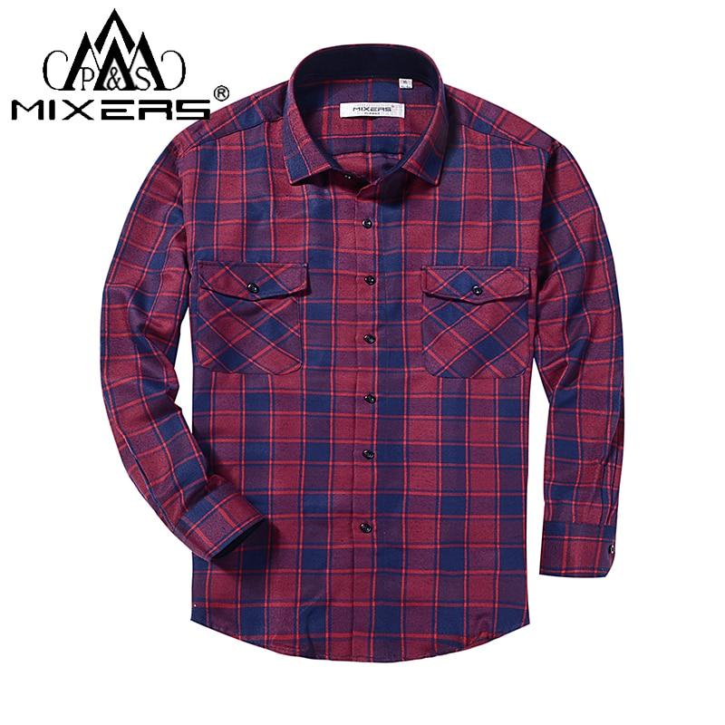2018 Spring Autumn 2 Chest Pocket Men's Plaid Flannel Shirt