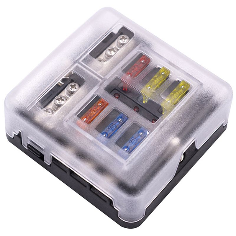 1 in 6 out auto fuse box waterproof blade fuse block box. Black Bedroom Furniture Sets. Home Design Ideas