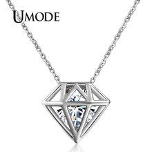 UMODE – Collier rond en zircone pour Femme, mignon, ajouré, de couleur or blanc, bijoux, vente en Gros, UN0115B