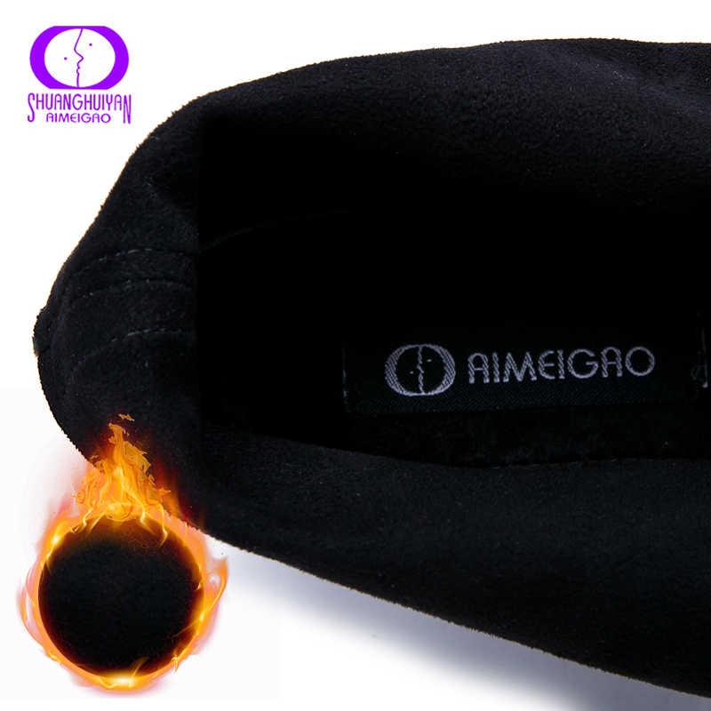 AIMEIGAO sonbahar kış sıcak peluş dantel-up yarım çizmeler kadın düz Patent PU deri siyah çizmeler kadın temel yuvarlak Toe topuklar ayakkabı