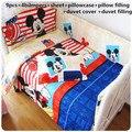 Promoção! 6/7/9 PCS de Mickey Mouse Do Bebê berço da cama conjunto colcha de algodão capa bumper berço da cama conjunto, 120*60/120*70 cm
