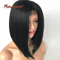 Maycaur Black Gluless Synthetic Lace Front Wigs Short Cut Bob Hair For Black Women Straight Yaki Bob Wigs with Baby Hair