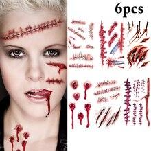 Faux tatouage temporaire autocollant étanche pour Halloween, 6 pièces, cicatrices au point, accessoires de décoration pour fête