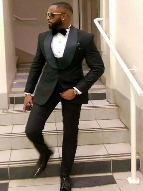 Black Groom Tuxedos Shawl Lapel Wedding Suits For Men Best Man Blazer Men's Suit 3 Piece Costume Homme Mariage Suit Men