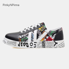 unisex sneakers canvas flat pop graffiti laced up round toe black white casual street punk style shoes for young women and men