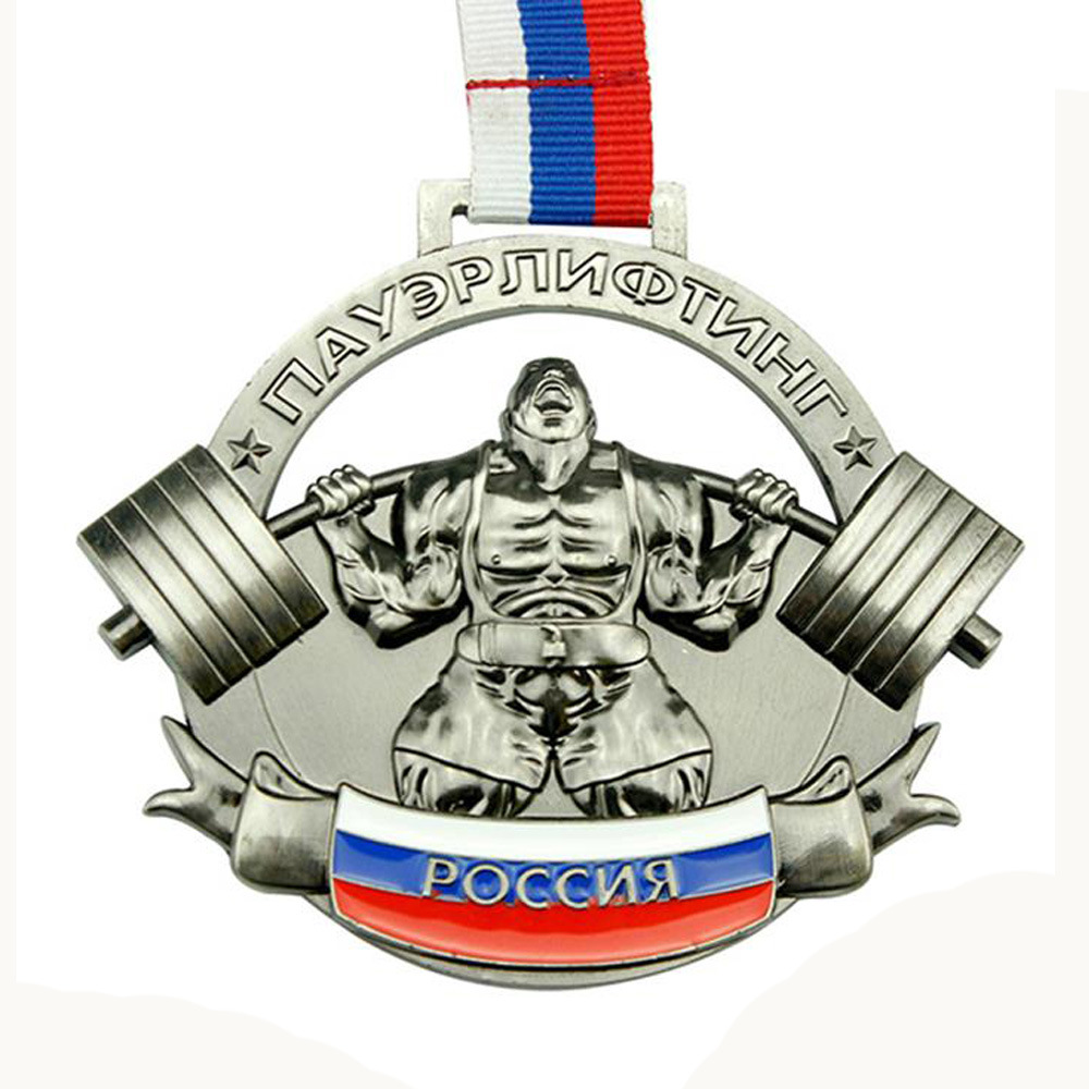 Weightlifting medals low price Customized sports medal hot sales 3D Weightlifting competition medal High quality games medals in Non currency Coins from Home Garden